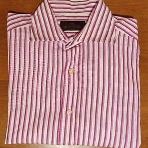 ETRO Milan Italy Perforated Luxury Shirt Sz 40/Med